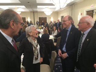 President Mabry and Chairman Campbell shared a laugh with Lowell philanthropist Nancy Donahue and Steve Joncas at the annual Lowell Plan breakfast